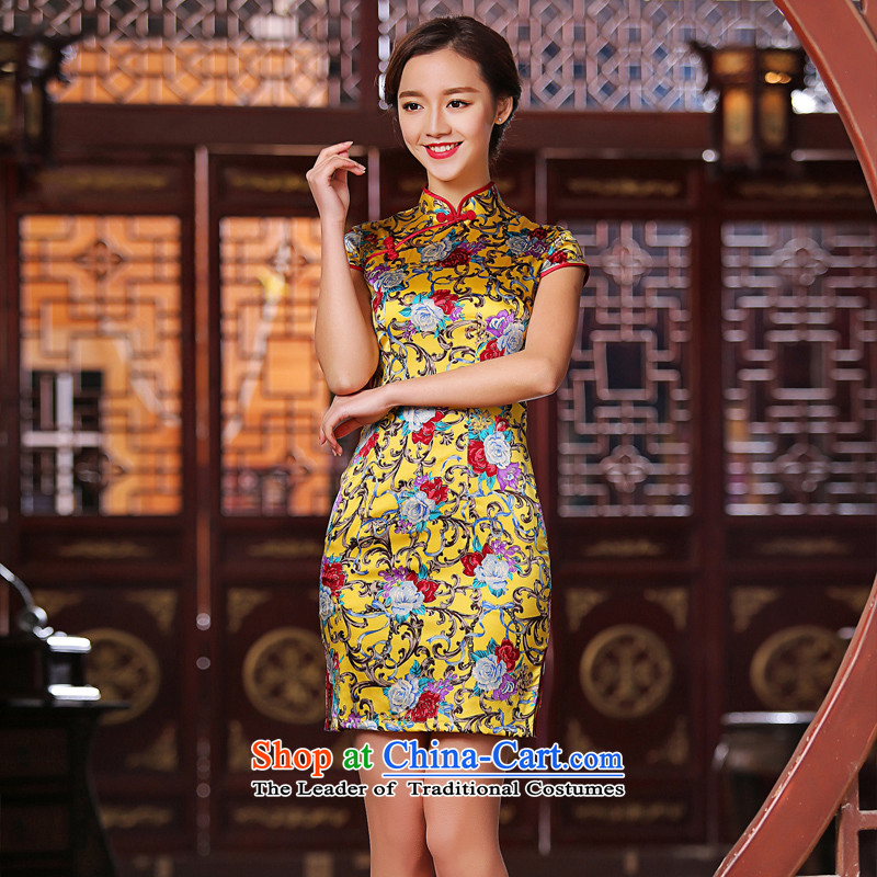 The cross-sa聽2015 new qipao bustling summer heavyweight silk cheongsam dress female Stylish retro聽SZ S2227聽GOLD聽XL
