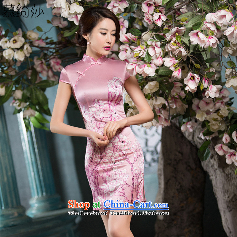 The cross-SA-toner�15 New Silk Cheongsam summer sauna daily improved stylish silk cheongsam dress lb female燬Z S2223 2XL