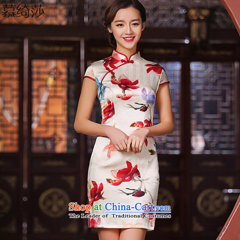 The complaints made by the cross-sa new heavyweight Silk Cheongsam summer daily improved Short-Sleeve Mock-Neck stylish cheongsam dress female SZ S2222 L
