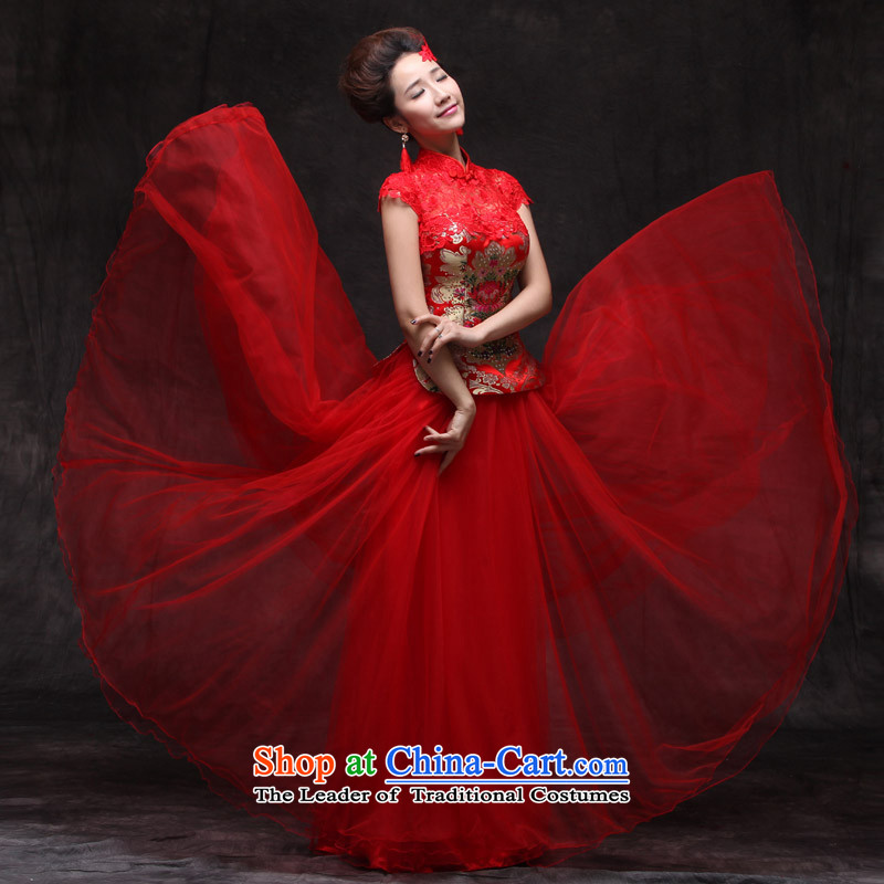 Sau Wo Saga Soo Wo Service Chinese Dress improved services cheongsam dress bride bows Sau San retro marriage qipao large red qipao large red聽XL