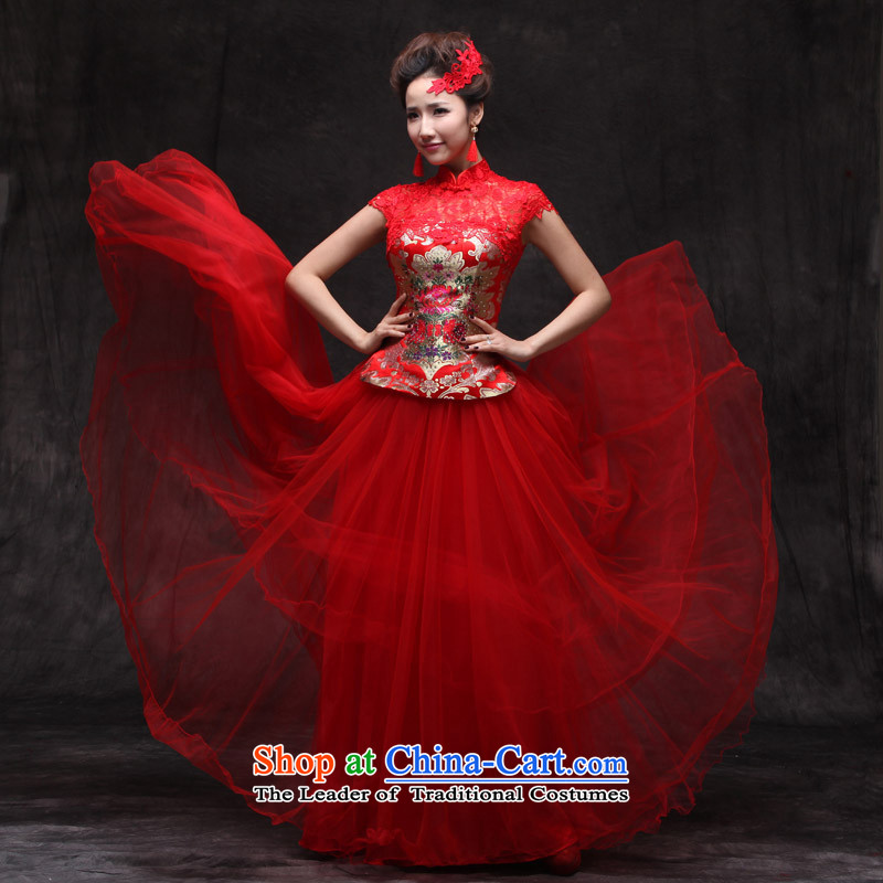 Sau Wo Saga Soo Wo Service Chinese Dress improved services cheongsam dress bride bows Sau San retro marriage qipao large red qipao large red聽XL, Sau Wo family shopping on the Internet has been pressed.