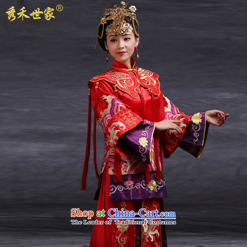 Sau Wo Saga Soo Wo Service 2015 Chinese bride national drink retro-soo wo service use the dragon wedding dresses new wedding dresses large red燬