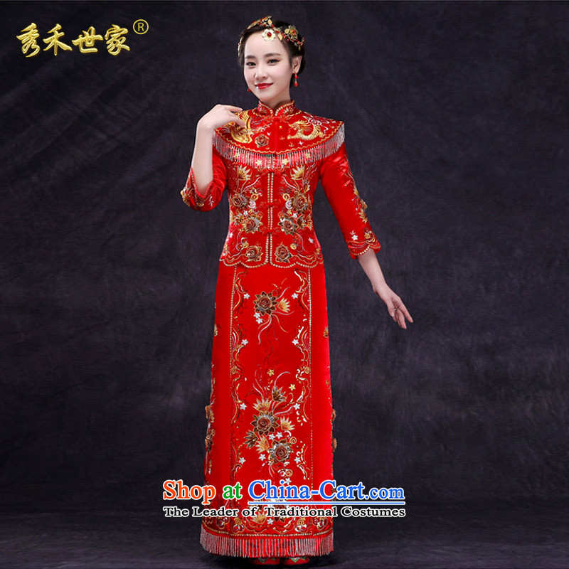 Sau Wo Family Service bridal dresses Sau Wo Chinese wedding dress 2015 new red bows wedding dress retro-soo and large red qipao燤