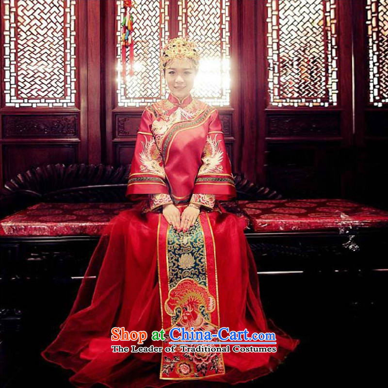 Sau Wo Family Service bridal dresses Sau Wo Chinese wedding dress red bows wedding dress retro qipao 2015 New Kimono clothes set of Sau燬