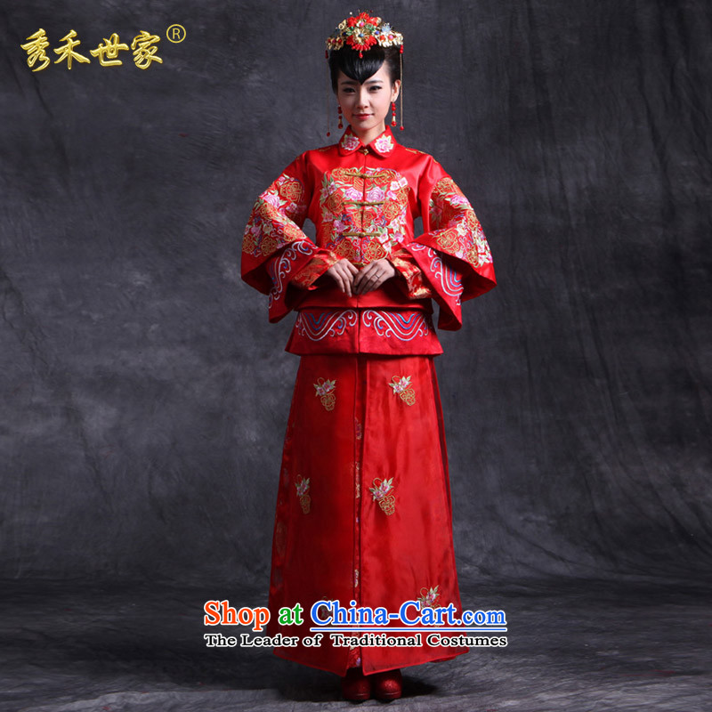 Sau Wo Family Service bridal dresses Sau Wo Red Chinese Antique bows to spring wedding dress qipao Soo kimono longfeng marriage Use a聽S of clothes