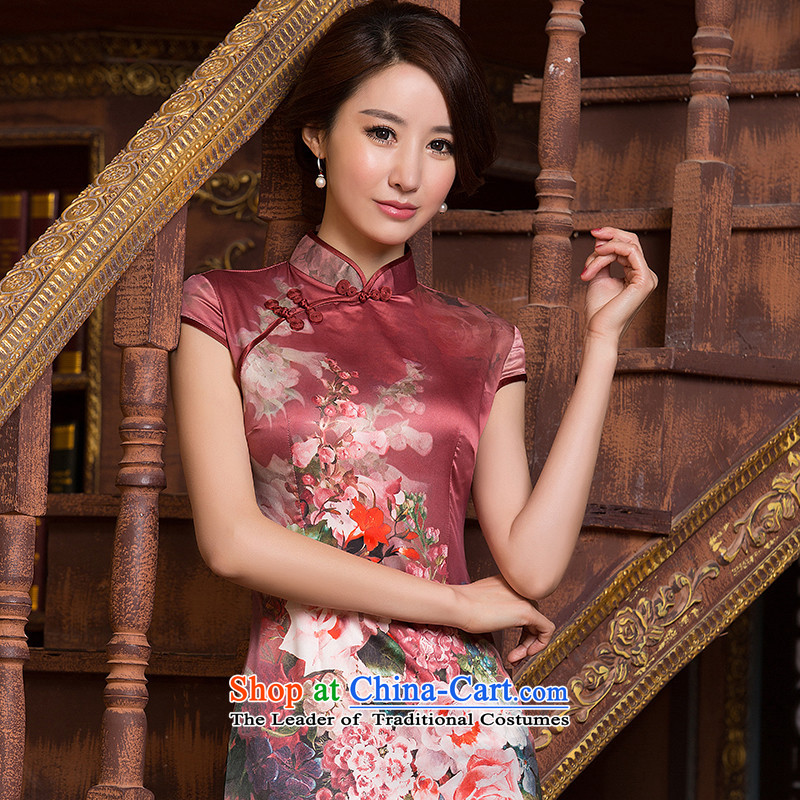 The cross-sa�15 daily qipao bridging to ensure improvement of ethnic women short-sleeved retro Sau San Tong replacing cheongsam dress short-sleeved燴A 069 S