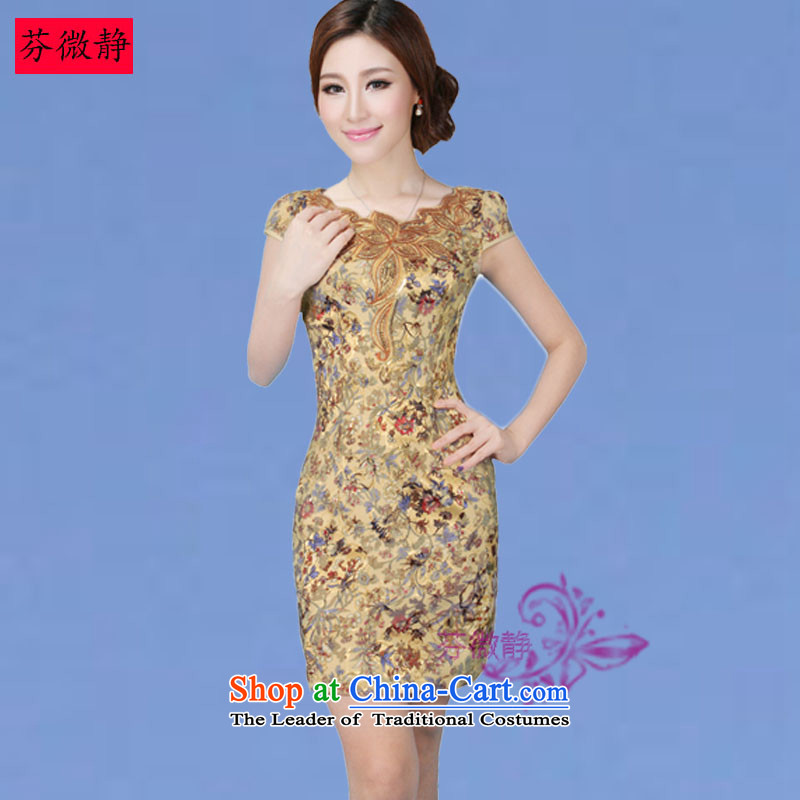 Leung Ching 2015 Spring_Summer micro-loaded cheongsam dress Stylish retro cheongsam dress daily improved Chinese dresses Winter Female 8808 Phoenix Phoenix L