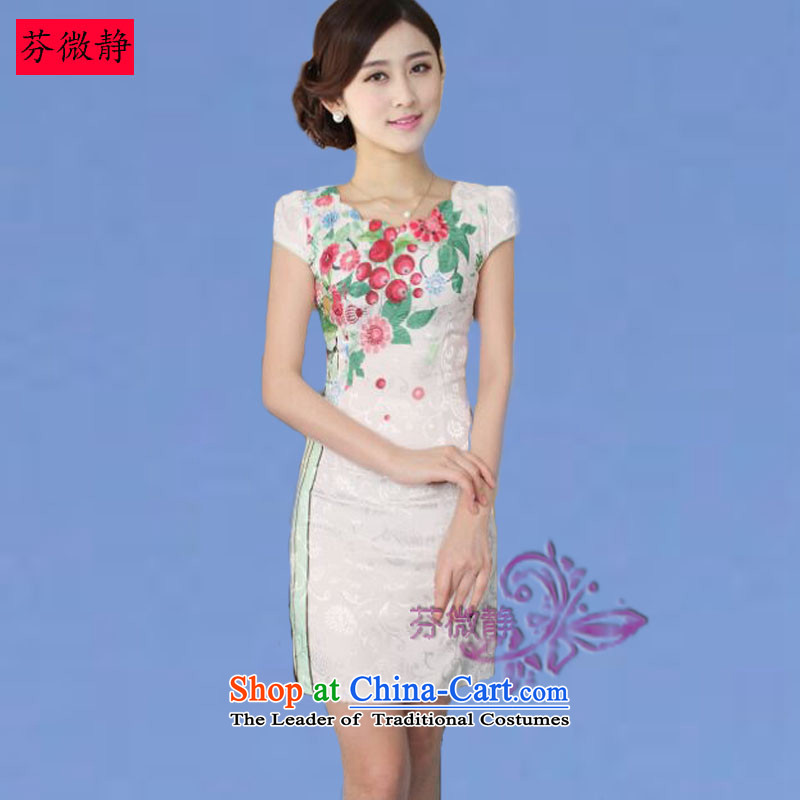Leung Ching 2015 Spring_Summer micro-loaded cheongsam dress Stylish retro cheongsam dress daily improved Chinese dresses cherry blossoms green XXL