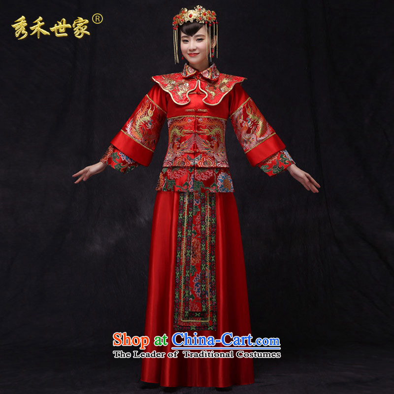 Sau Wo Saga Soo Wo Service retro-soo Wo Service brides Chinese wedding dress uniform red dragon qipao bows should start with the spring and summer wedding gown, a燤 of clothes