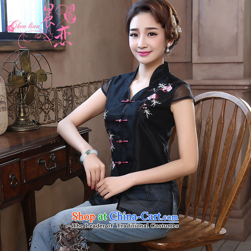 Morning new qipao Land summer short of improvement and Stylish retro CHINESE CHEONGSAM short-sleeved T-shirt OSCE root yarn embroidery black燣