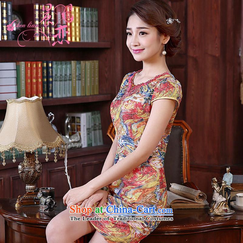 Land 2015 summer morning new improved Stylish retro short of cheongsam dress beaded lace daily female skirt orange?XL