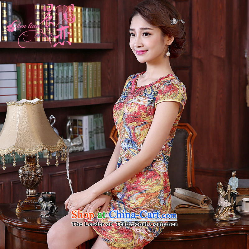 Land 2015 summer morning new improved Stylish retro short of cheongsam dress beaded lace daily female skirt orange聽XL