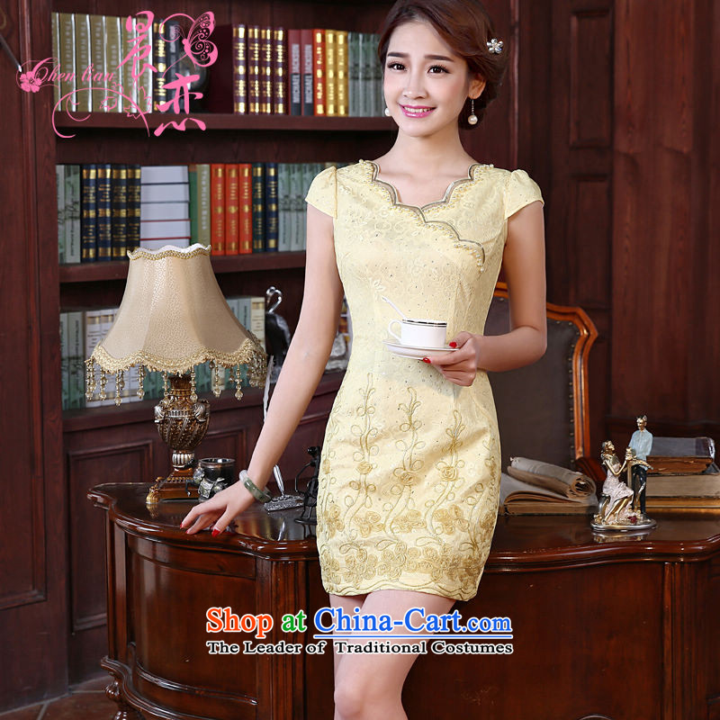 Land 2014 New Morning Summer Stylish retro short of improved cheongsam dress Tang dynasty yellow V-Neck Soubrette Yellow XL