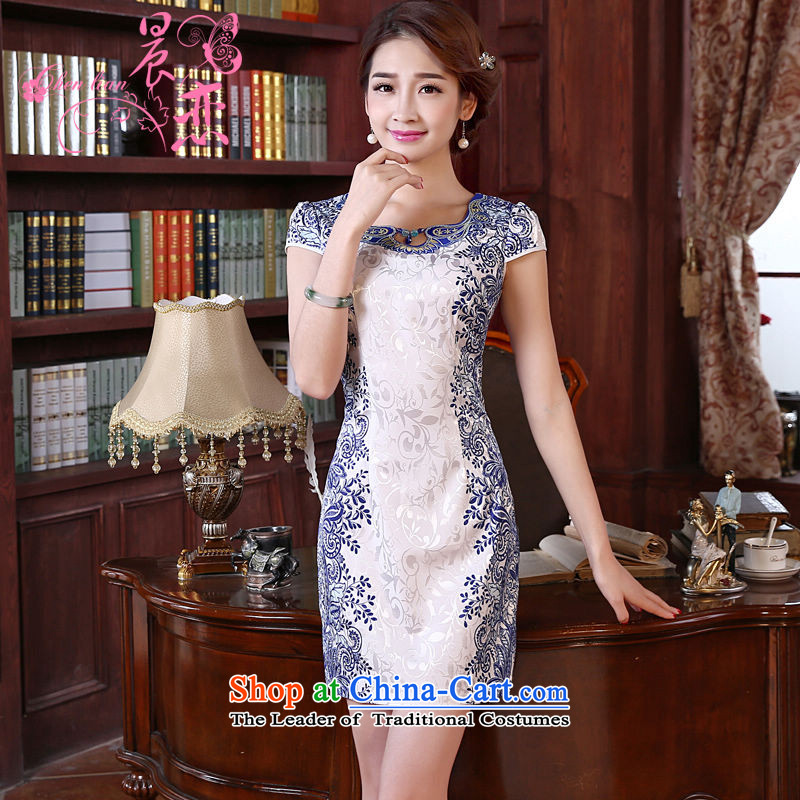 Land 2015 summer morning new improved Stylish retro short of Qipao U collar daily Female dress blue blue�5_S land