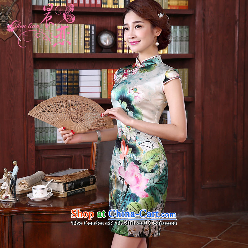 The new land morning 2015 summer short of improvement and Stylish retro double herbs extract silk CHINESE CHEONGSAM Ching-lin green XL