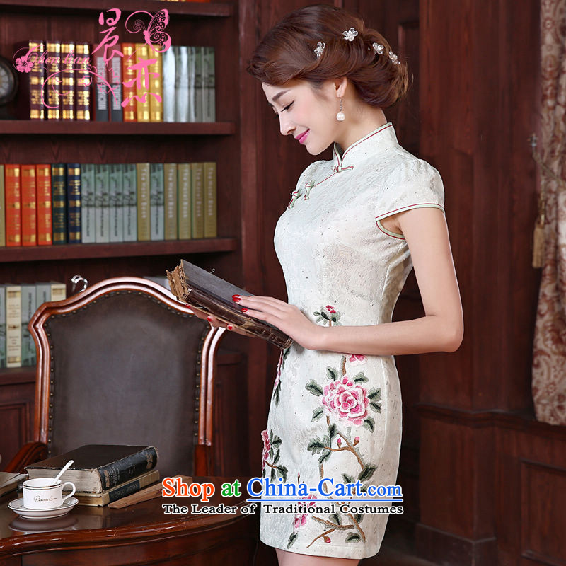 Land 2015 summer morning new improved Stylish retro short of cheongsam dress Lace Embroidery daily female skirt light green L
