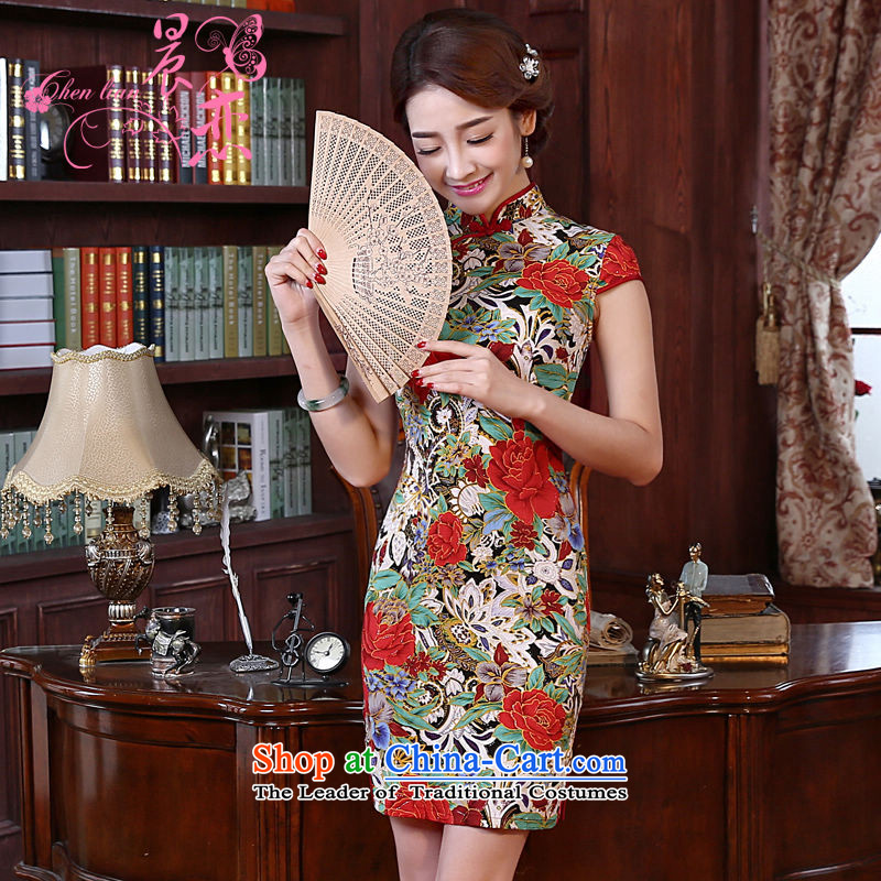 Land 2015 summer morning new Stylish retro short of improved cheongsam dress Chinese daily cotton linen dresses red燣