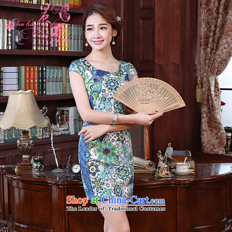 Land 2015 summer morning new improved Stylish retro short of cotton cheongsam dress daily female two-color summer flowers skirt light blue聽M