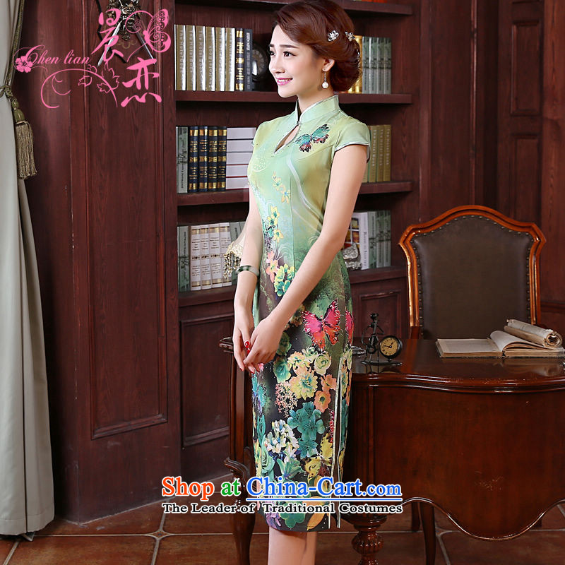 Morning new qipao Land summer retro long improved stylish herbs extract silk Chinese cheongsam dress green Butterfly green燲XL