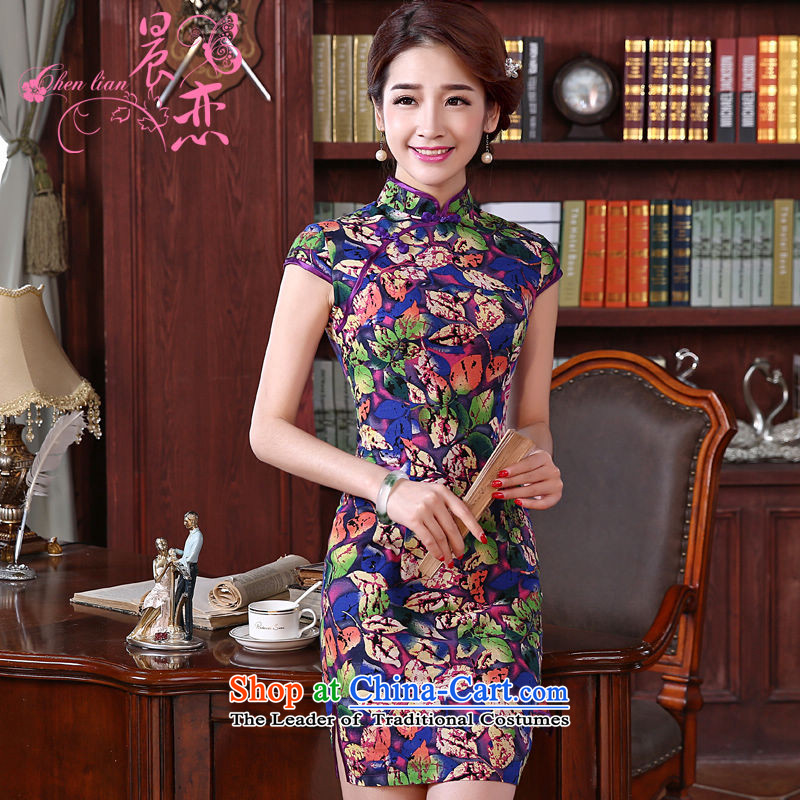 Land 2015 summer morning new Stylish retro short of improved cheongsam dress Chinese daily cotton linen dresses purple燲L