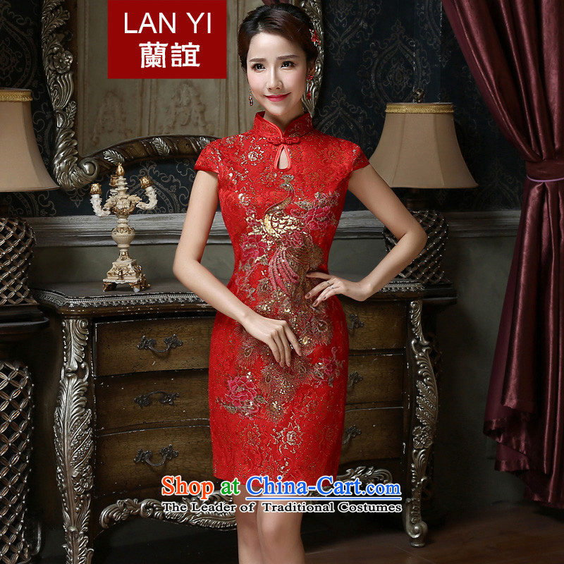 In 2015 the new friends marriages bows services improved marriage Chinese qipao antique dresses spring and summer short of qipao skirt quality assurance燬 waistline 1.9 feet code