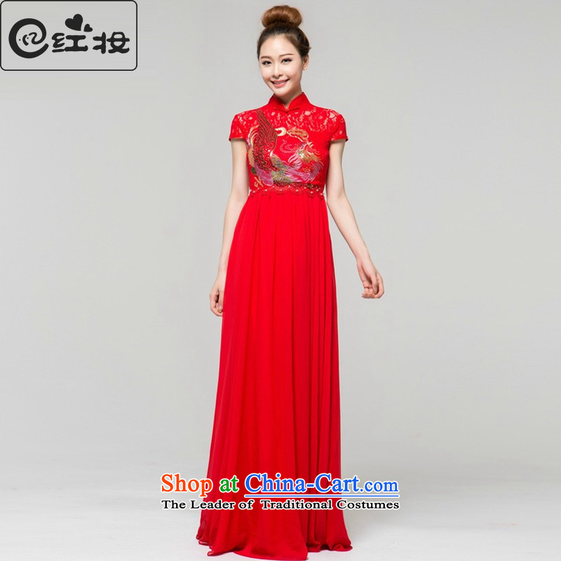 Recalling that hates makeup and Top Loin of pregnant women long qipao marriages improved qipao gown toasting champagne stylish graphics thin Q13671 Sau San RED燤