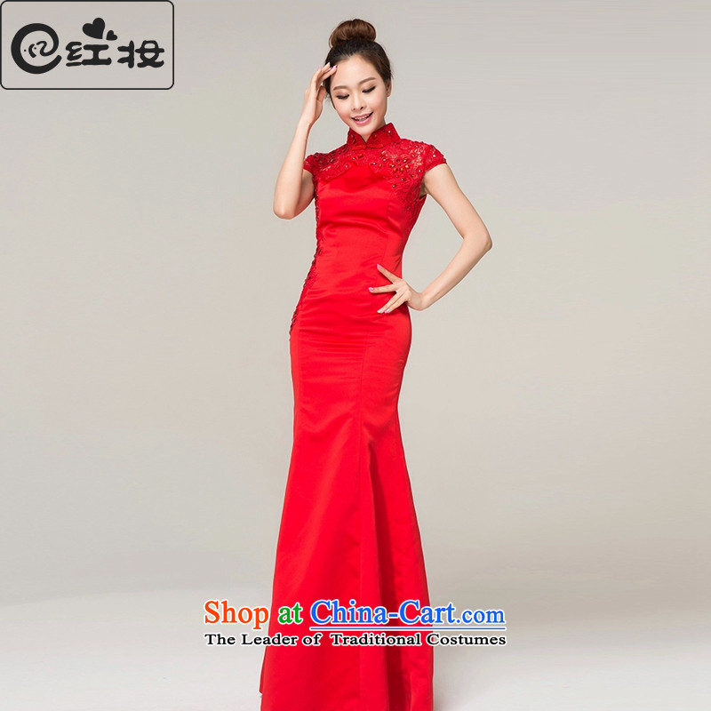 Recalling that the red collar packages in Colombia shoulder red long marriages qipao Chinese spring and summer retro crowsfoot bows dress Q13619 RED燬