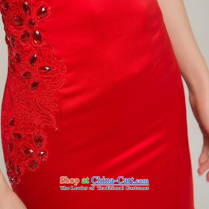 Recalling that the red collar packages in Colombia shoulder red long marriages qipao Chinese spring and summer retro crowsfoot bows dress Q13619 red red, Colombia has been pressed, recalling that shopping on the Internet