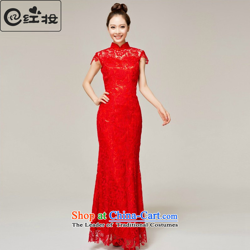 Recalling that hates makeup and bride qipao spring and summer bride bows wedding dress uniform long red lace retro qipao Q13614 RED燤