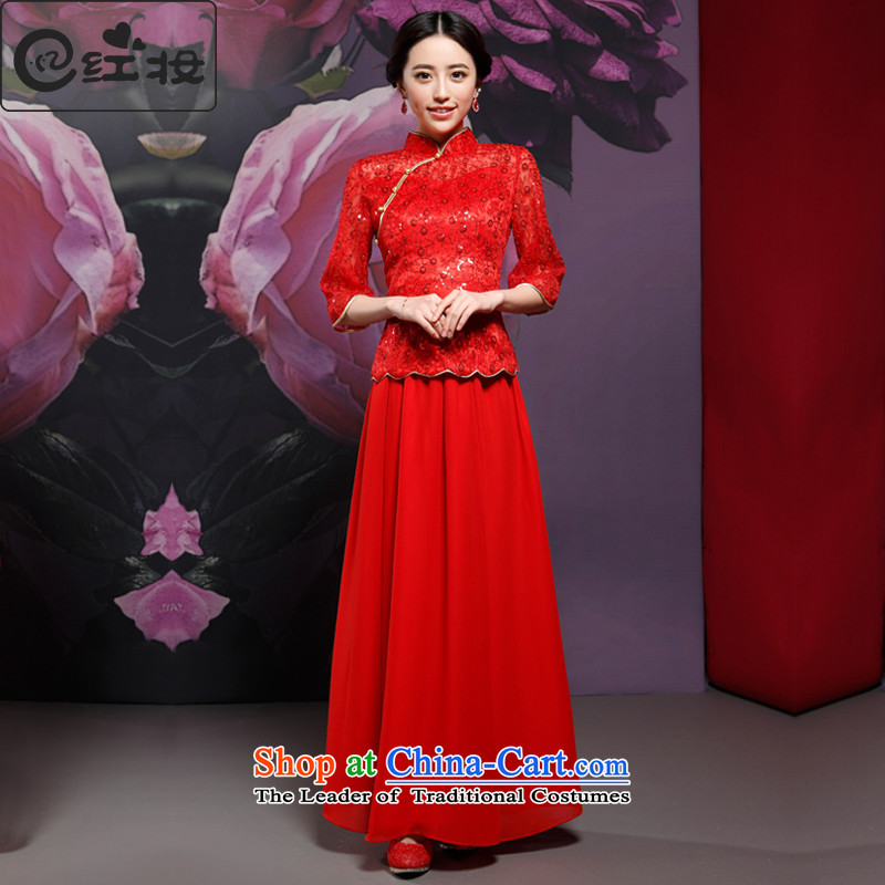 Recalling that the new hates makeup and CHINESE CHEONGSAM long-sleeved clothing at the marriage of improved services and stylish bride cheongsam dress Q14717 drink red燲L