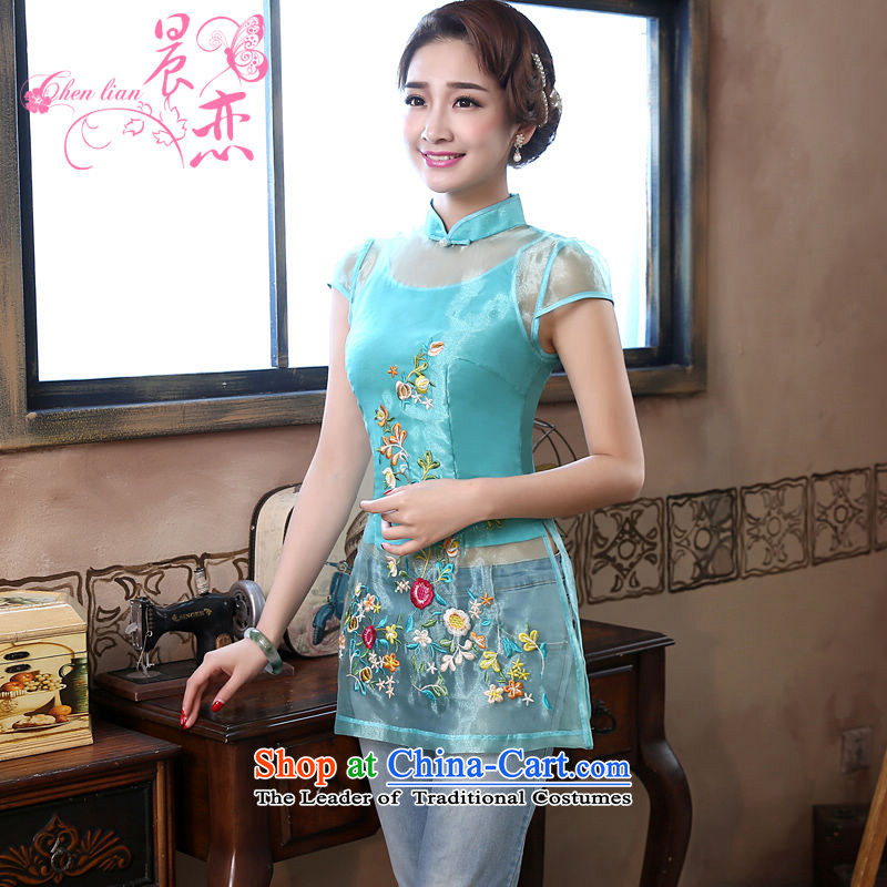Morning new qipao Land summer short of improvement and Stylish retro CHINESE CHEONGSAM short-sleeved T-shirt OSCE root yarn light blue�5_S Embroidery