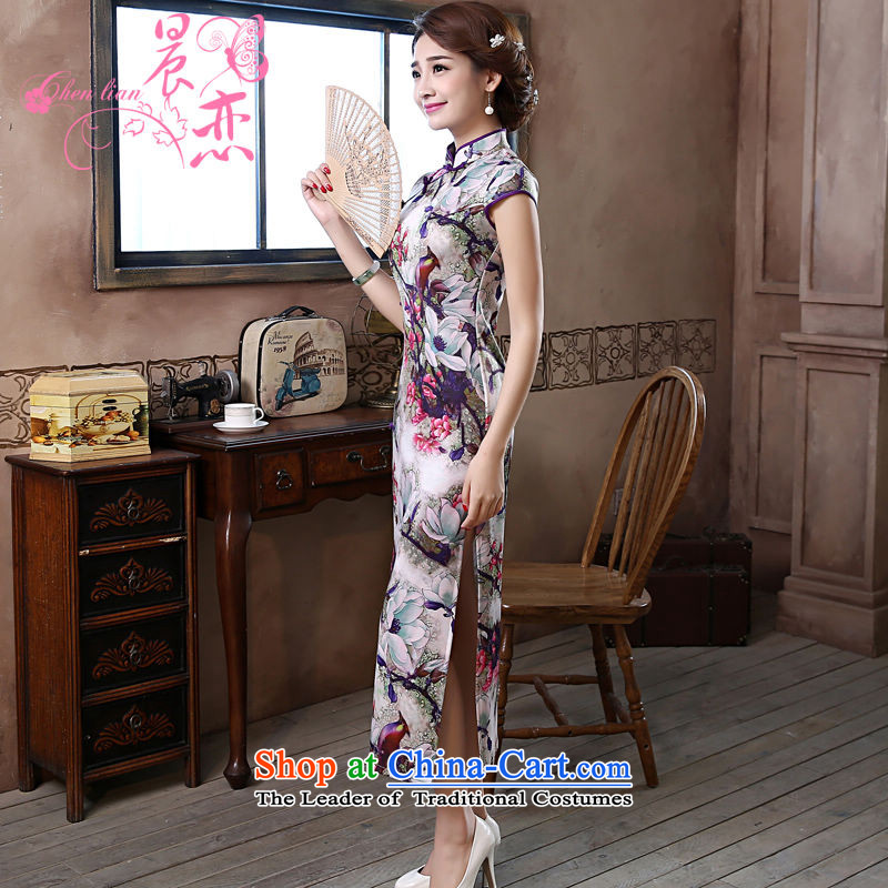 Land 2015 summer morning new improved Stylish retro long cheongsam dress daily female skirt Magnolia purple燲L