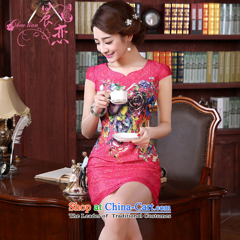 Land 2015 summer morning new improved Stylish retro short of qipao dresses in red lace daily by the red dress female�L