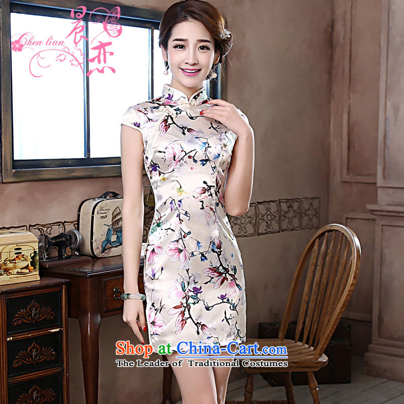 Land 2015 summer morning new improved Stylish retro short of qipao dresses daily female skirt Magnolia Light Gray燤
