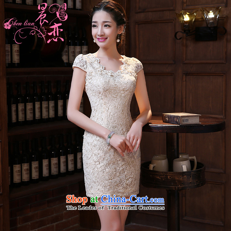 Land 2015 summer morning new improved Stylish retro short of qipao dresses exquisite lace daily female skirt apricot燣