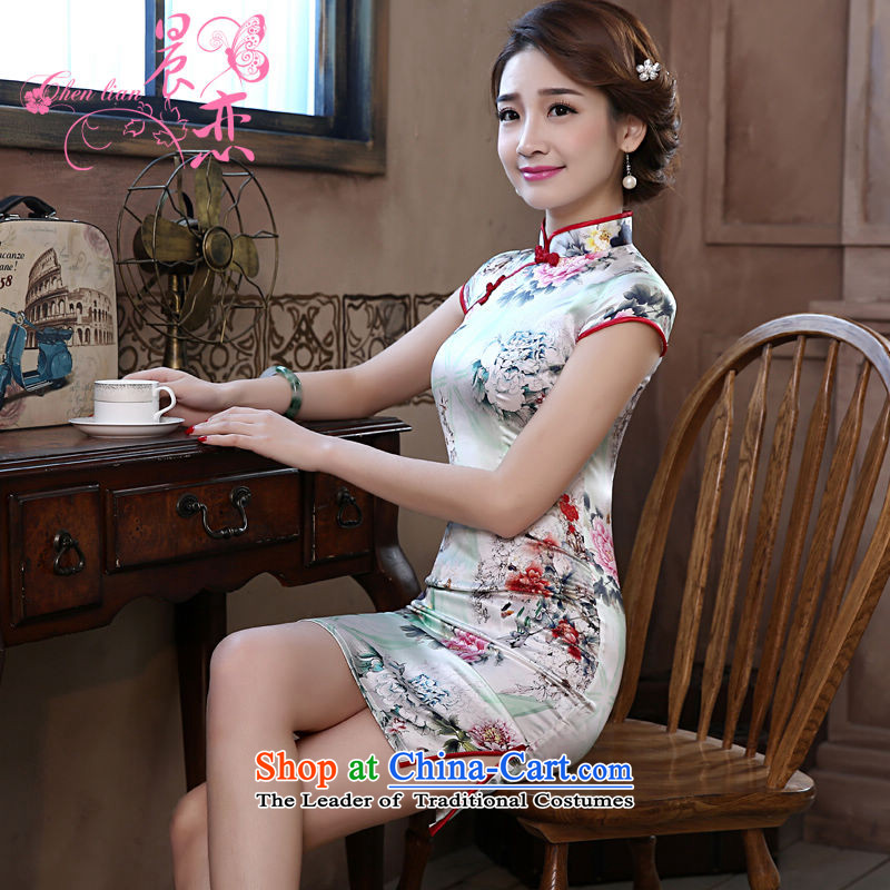 Morning new qipao land 2015 Summer retro short-sleeved improved stylish herbs extract heavyweight silk cheongsam dress green Peony Suit?M
