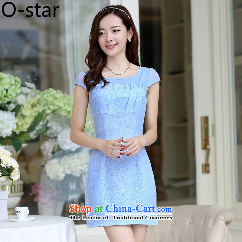 2015 Summer o-star new women's dresses improved stylish and elegant Dress Short, Sepia daily cotton qipao gown blue?XL