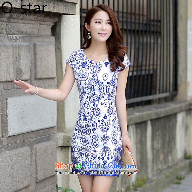 The new 2015 o-star summer qipao porcelain retro style qipao improved graphics Sau San thin cheongsam dress YWCA Suit燤