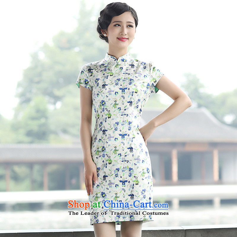 The Ottoman聽2015 new stylish stamp qipao herbs extract elegant qipao first Sau San Chai聽M