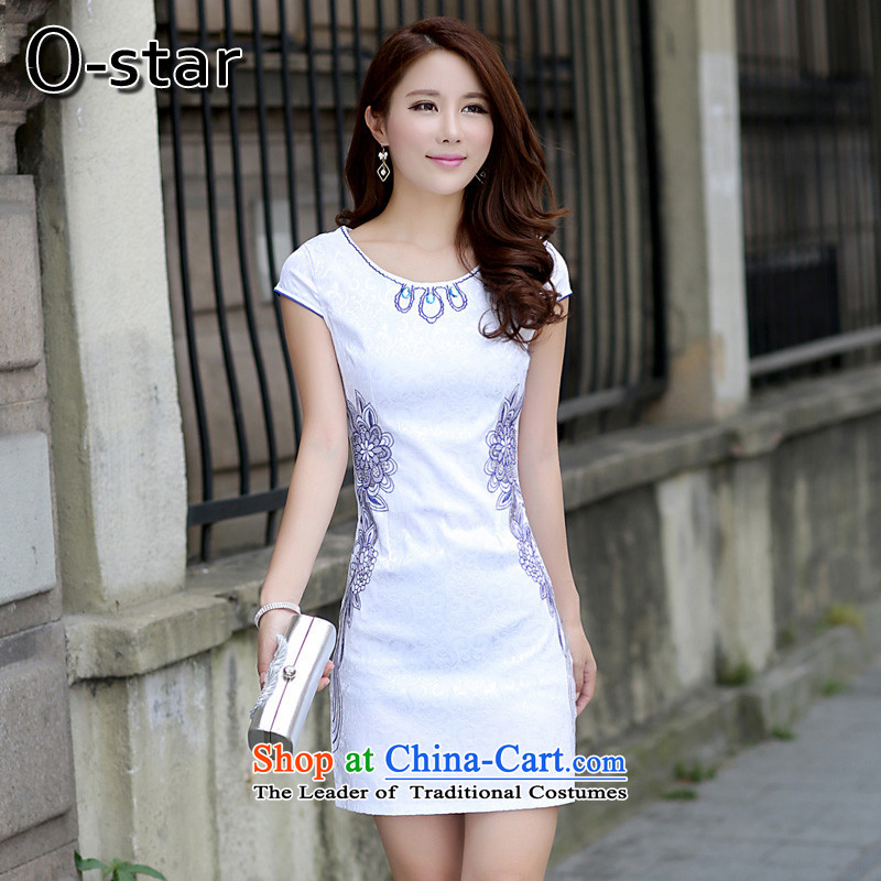 ��2015 Summer o-star qipao new cheongsam dress short stylish improved cotton linen, Ms. Tang dynasty elegant blue�L