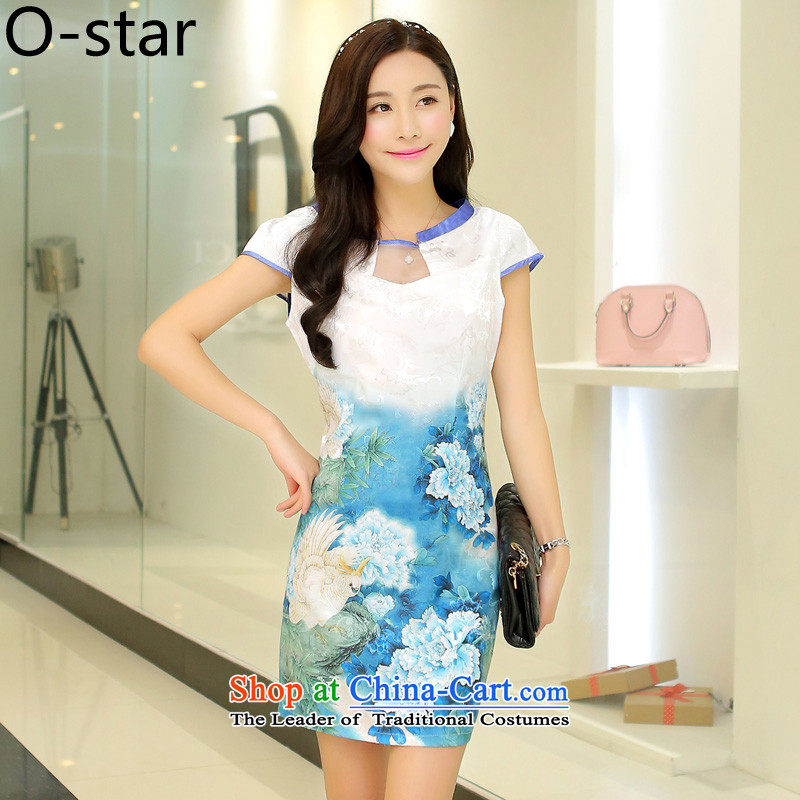 Women 2015 o-star new ethnic Tang Dynasty Chinese ink stamp water retro look like video thin package     and skirt light blue qipao燣