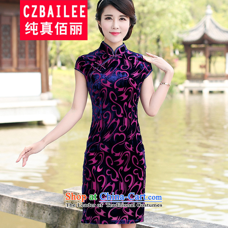 Sexy Bai Lai summer improved cheongsam dress dresses classic high-end Kim scouring pads short-sleeved blouses and Tang dynasty wedding dresses qipao�XXL