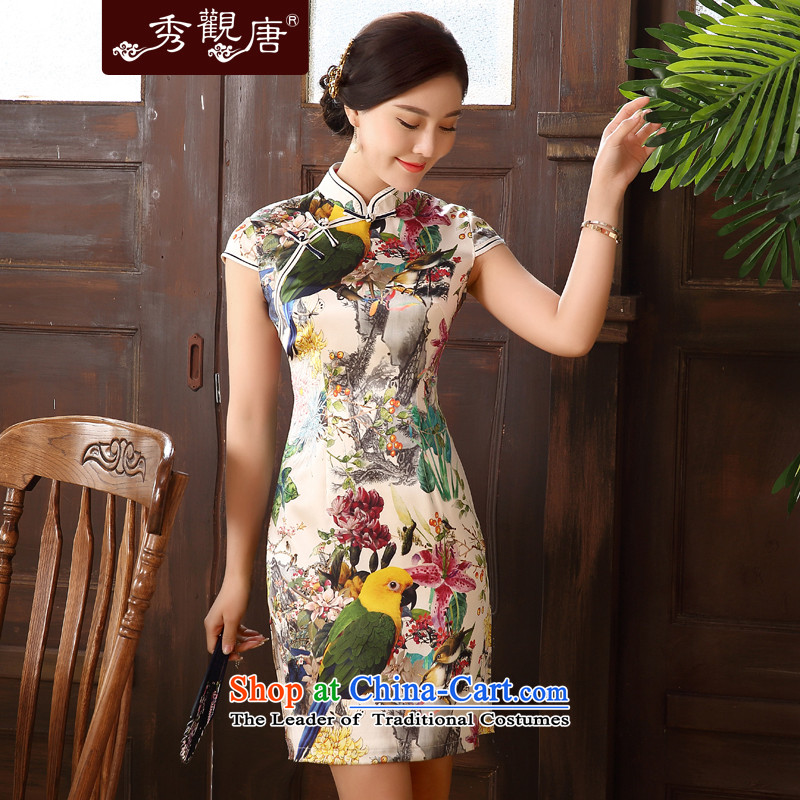 -Sau Kwun Tong- incense new 2015 Lam qipao summer herbs extract female retro silk cheongsam dress improved Suit燤