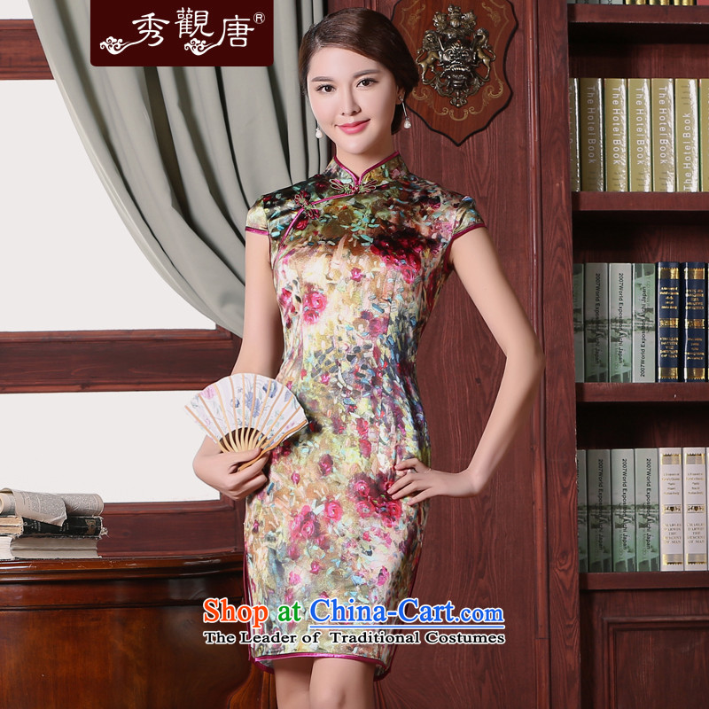 -Sau Kwun Tong- obsessed with Silk Cheongsam Summer 2015 New floral stamp cheongsam dress QD5301 SUIT燬