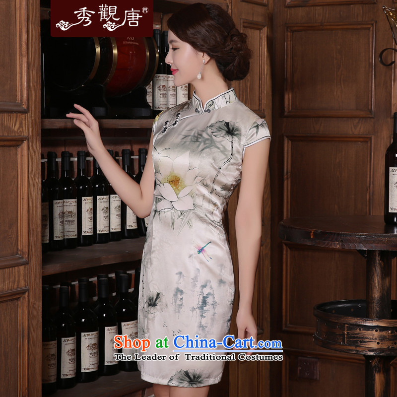 -Sau Kwun Tong- Land summer I should be grateful if you would have the new 2015 retro Silk Cheongsam sauna silk dresses QD5406 SUIT燲L