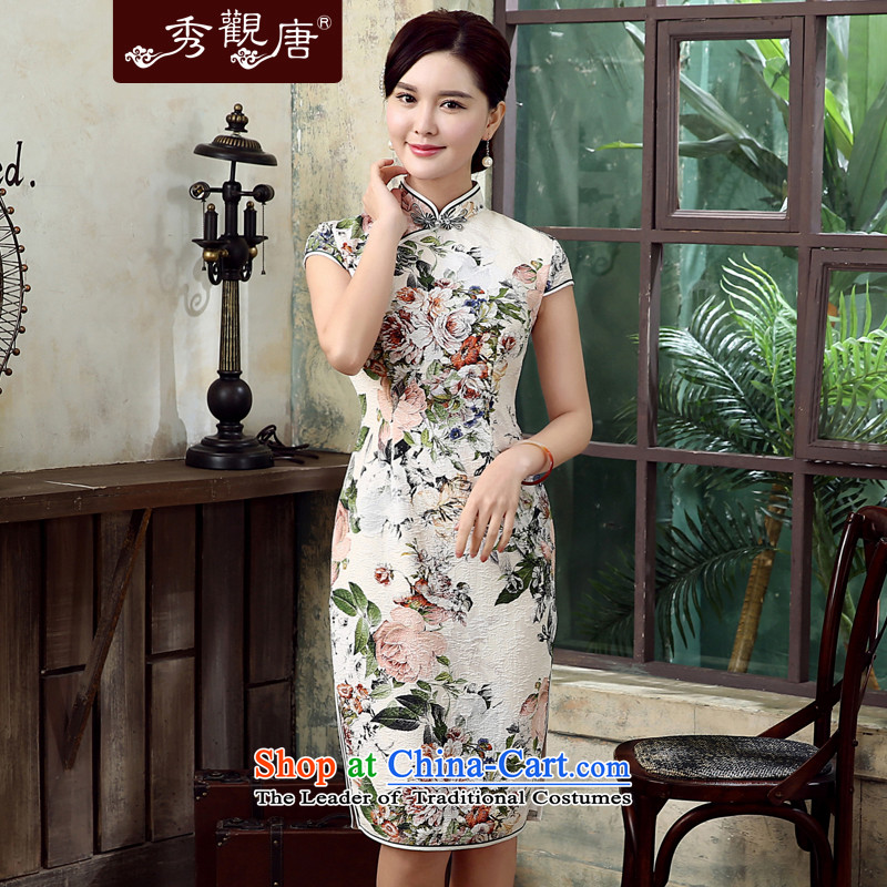 -Sau Kwun Tong- Ying spent summer 2015 new retro qipao manually is long, flower cheongsam dress QD5307 Suit聽M