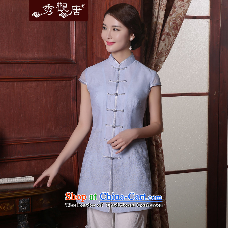 -Sau Kwun Tong- Anna light summer 2015 Ms. Tang Dynasty Chinese cheongsam dress temperament improved shirt TD5408 light blue聽M