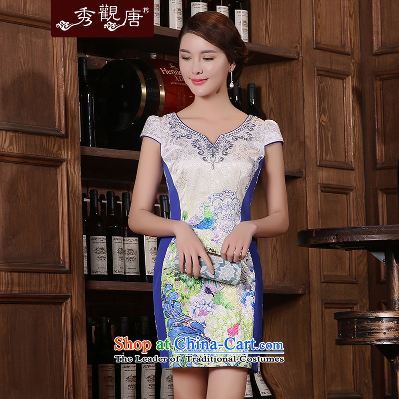 -Sau Kwun Tong- on 2015 Summer Yuen Long New cheongsam dress improved Stylish retro KD5405 Dress Suit燤