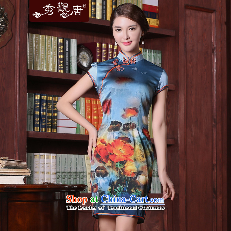 -Sau Kwun Tong- of Silk Cheongsam Yue Summer 2015 new improved Stylish retro cheongsam dress QD5402 SUIT燣