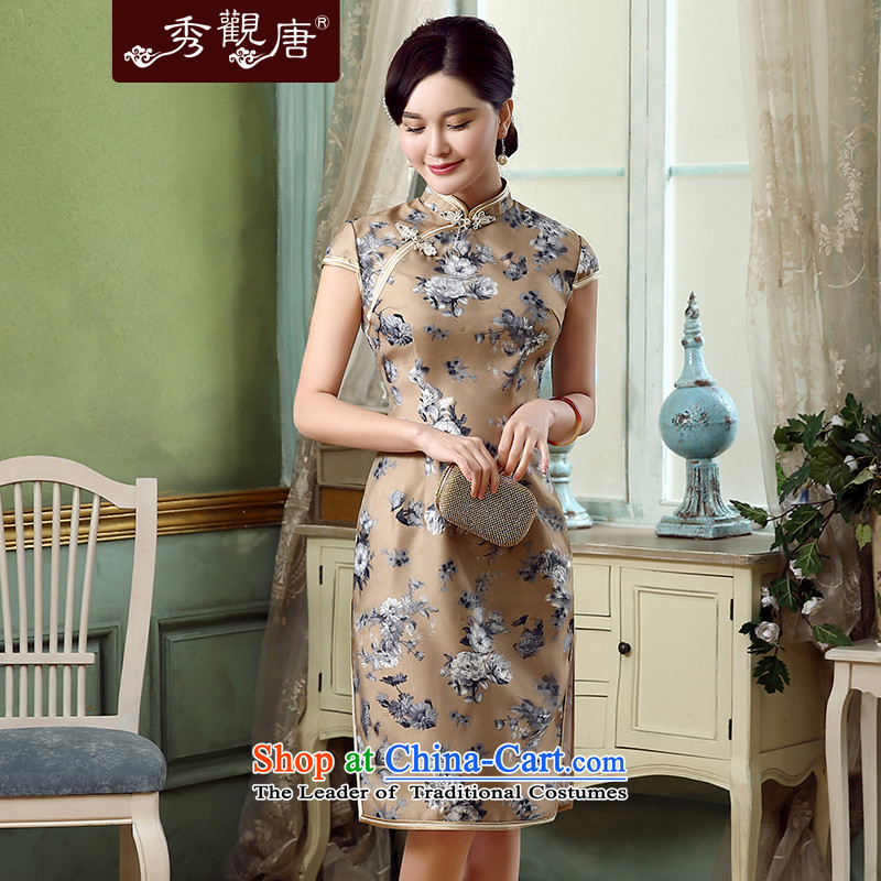 [Sau Kwun Tong] one of the 2015 Summer new lady in long retro qipao qipao QD5318 improved brown?XL
